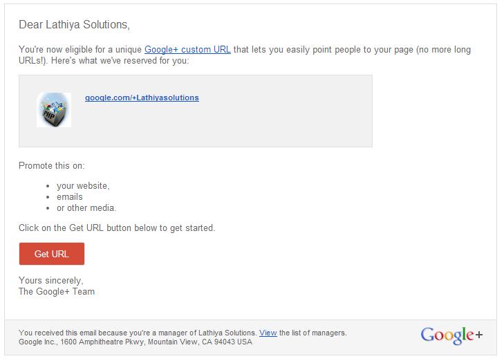 email for google plus custom url