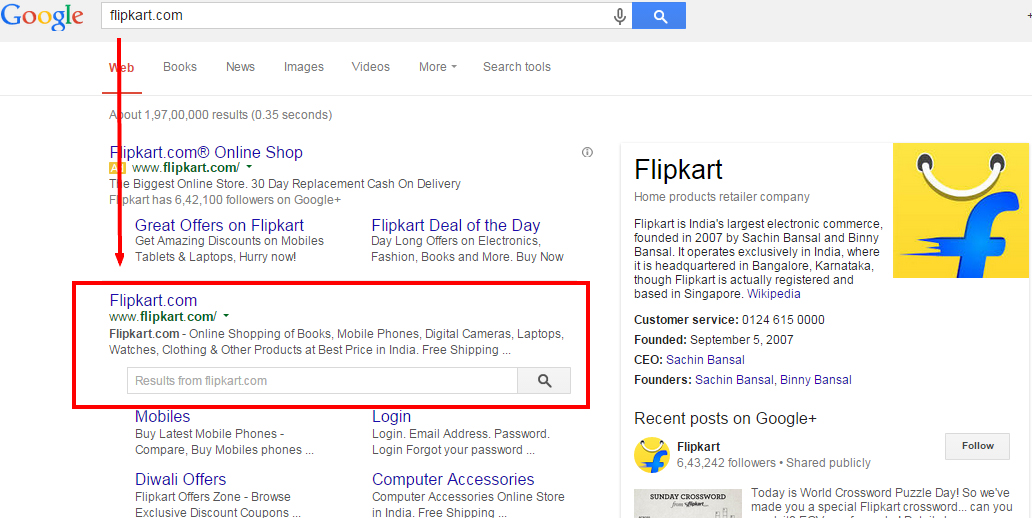 flipkart Google sitelink search box